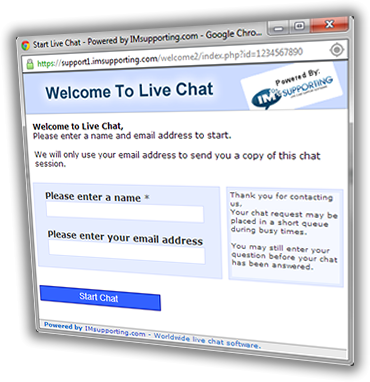 Live chat software chat screen